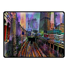 Downtown Chicago Double Sided Fleece Blanket (small)  by Amaryn4rt