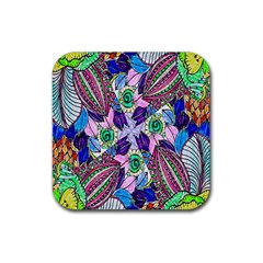 Wallpaper Created From Coloring Book Rubber Square Coaster (4 Pack)  by Amaryn4rt