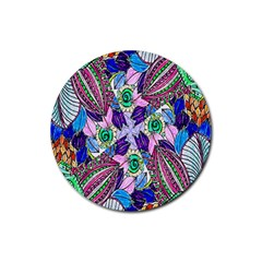 Wallpaper Created From Coloring Book Rubber Round Coaster (4 Pack)  by Amaryn4rt