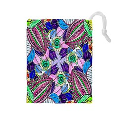 Wallpaper Created From Coloring Book Drawstring Pouches (large)  by Amaryn4rt