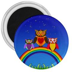 Owls Rainbow Animals Birds Nature 3  Magnets by Amaryn4rt