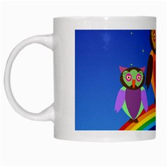 Owls Rainbow Animals Birds Nature White Mugs by Amaryn4rt