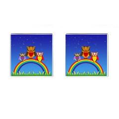 Owls Rainbow Animals Birds Nature Cufflinks (square) by Amaryn4rt