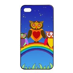 Owls Rainbow Animals Birds Nature Apple Iphone 4/4s Seamless Case (black) by Amaryn4rt