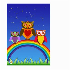 Owls Rainbow Animals Birds Nature Large Garden Flag (two Sides) by Amaryn4rt