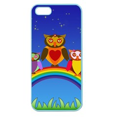 Owls Rainbow Animals Birds Nature Apple Seamless Iphone 5 Case (color) by Amaryn4rt