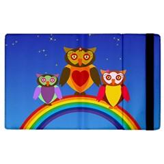 Owls Rainbow Animals Birds Nature Apple Ipad 3/4 Flip Case by Amaryn4rt