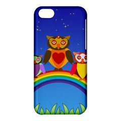 Owls Rainbow Animals Birds Nature Apple Iphone 5c Hardshell Case by Amaryn4rt