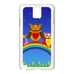 Owls Rainbow Animals Birds Nature Samsung Galaxy Note 3 N9005 Case (white) by Amaryn4rt