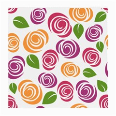 Colorful Seamless Floral Flowers Pattern Wallpaper Background Medium Glasses Cloth (2 Side) by Amaryn4rt