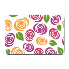 Colorful Seamless Floral Flowers Pattern Wallpaper Background Small Doormat  by Amaryn4rt