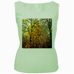 Summer Sun Set Fractal Forest Background Women s Green Tank Top by Amaryn4rt