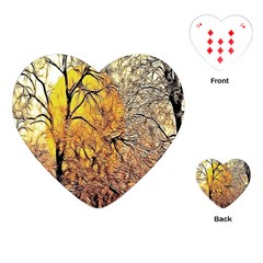 Summer Sun Set Fractal Forest Background Playing Cards (heart)  by Amaryn4rt