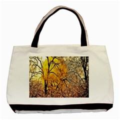 Summer Sun Set Fractal Forest Background Basic Tote Bag by Amaryn4rt