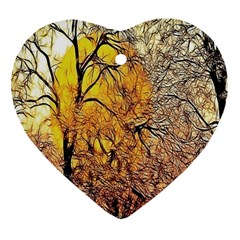 Summer Sun Set Fractal Forest Background Heart Ornament (two Sides) by Amaryn4rt