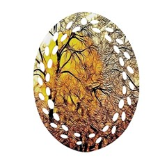 Summer Sun Set Fractal Forest Background Oval Filigree Ornament (two Sides) by Amaryn4rt