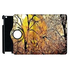 Summer Sun Set Fractal Forest Background Apple Ipad 3/4 Flip 360 Case by Amaryn4rt