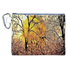 Summer Sun Set Fractal Forest Background Canvas Cosmetic Bag (xxl) by Amaryn4rt