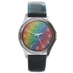 Bubbles Rainbow Colourful Colors Round Metal Watch by Amaryn4rt