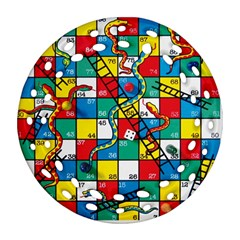 Snakes And Ladders Round Filigree Ornament (two Sides) by Amaryn4rt