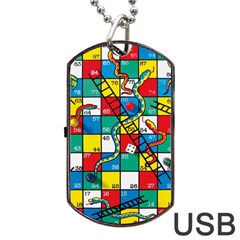 Snakes And Ladders Dog Tag Usb Flash (two Sides) by Amaryn4rt