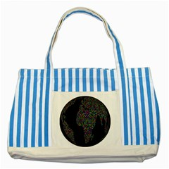World Earth Planet Globe Map Striped Blue Tote Bag by Amaryn4rt