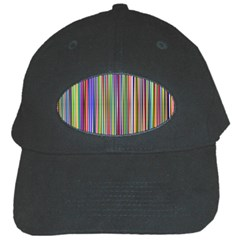 Striped Stripes Abstract Geometric Black Cap by Amaryn4rt