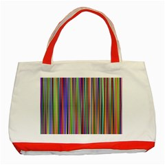 Striped Stripes Abstract Geometric Classic Tote Bag (red) by Amaryn4rt