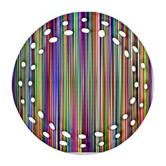 Striped Stripes Abstract Geometric Round Filigree Ornament (two Sides) by Amaryn4rt