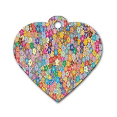 Sakura Cherry Blossom Floral Dog Tag Heart (two Sides) by Amaryn4rt