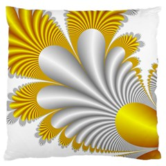 Fractal Gold Palm Tree  Large Flano Cushion Case (one Side) by Amaryn4rt