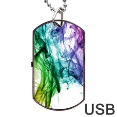 Colour Smoke Rainbow Color Design Dog Tag Usb Flash (two Sides) by Amaryn4rt
