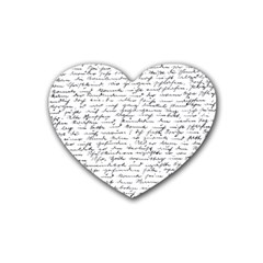 Handwriting  Rubber Coaster (heart)  by Valentinaart