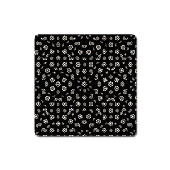 Dark Ditsy Floral Pattern Square Magnet by dflcprints