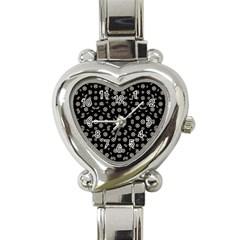Dark Ditsy Floral Pattern Heart Italian Charm Watch by dflcprints