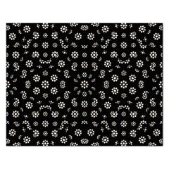Dark Ditsy Floral Pattern Rectangular Jigsaw Puzzl by dflcprints