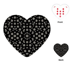 Dark Ditsy Floral Pattern Playing Cards (heart)  by dflcprints