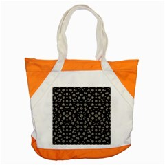 Dark Ditsy Floral Pattern Accent Tote Bag by dflcprints