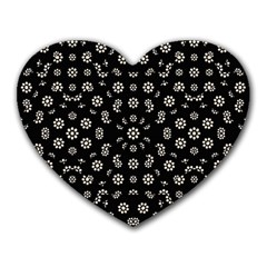 Dark Ditsy Floral Pattern Heart Mousepads by dflcprints