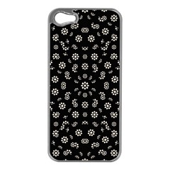 Dark Ditsy Floral Pattern Apple Iphone 5 Case (silver) by dflcprints