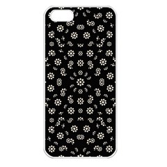 Dark Ditsy Floral Pattern Apple Iphone 5 Seamless Case (white) by dflcprints