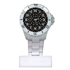Dark Ditsy Floral Pattern Plastic Nurses Watch by dflcprints