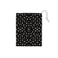 Dark Ditsy Floral Pattern Drawstring Pouches (small)  by dflcprints
