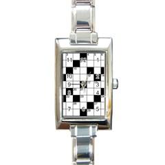 Crosswords  Rectangle Italian Charm Watch by Valentinaart