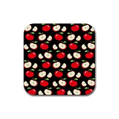 Apple Pattern Rubber Coaster (square)  by Valentinaart