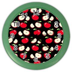 Apple Pattern Color Wall Clocks by Valentinaart