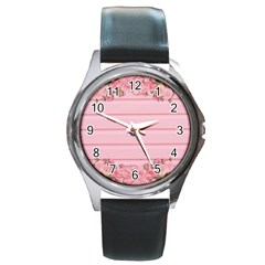 Pink Peony Outline Romantic Round Metal Watch by Simbadda