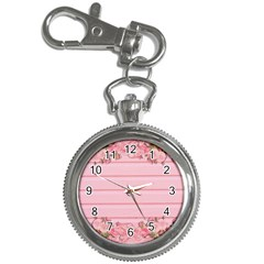 Pink Peony Outline Romantic Key Chain Watches by Simbadda