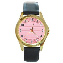 Pink Peony Outline Romantic Round Gold Metal Watch by Simbadda