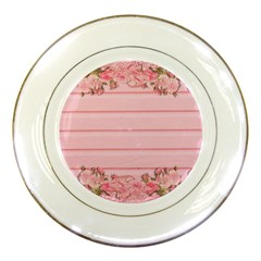 Pink Peony Outline Romantic Porcelain Plates by Simbadda